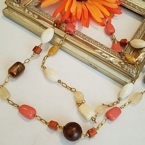 Jewelry - Vintage Glass, Wooden & Foil Beaded Necklace